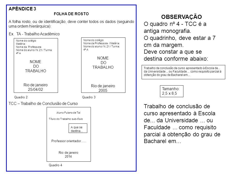 O quadro nº 4 - TCC é a antiga monografia.