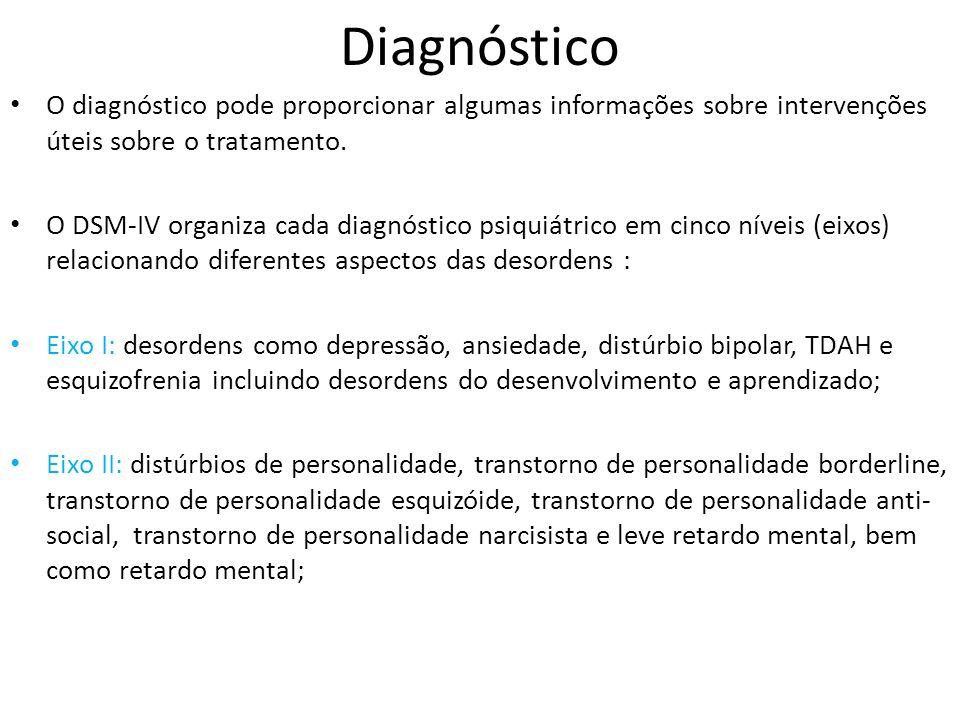 Diagnóstico O diagnóstico pode proporcionar algumas informações sobre intervenções úteis sobre o tratamento.