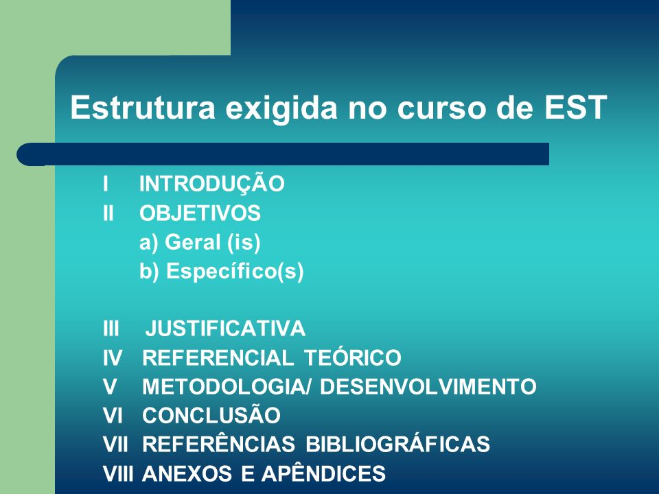 Estrutura exigida no curso de EST