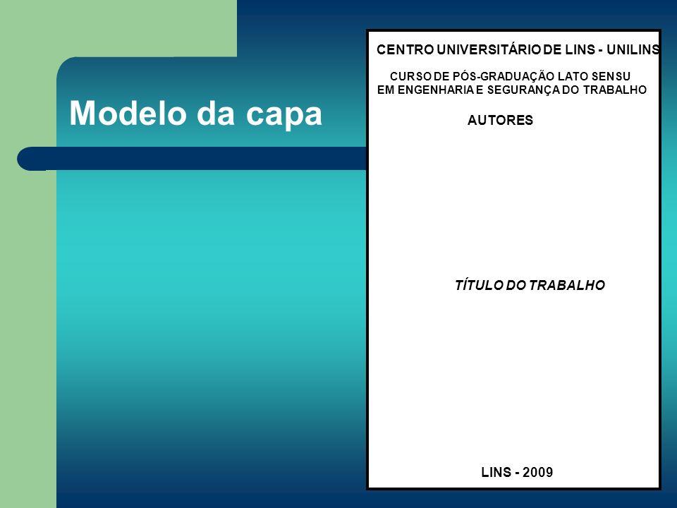 Modelo da capa CENTRO UNIVERSITÁRIO DE LINS - UNILINS AUTORES