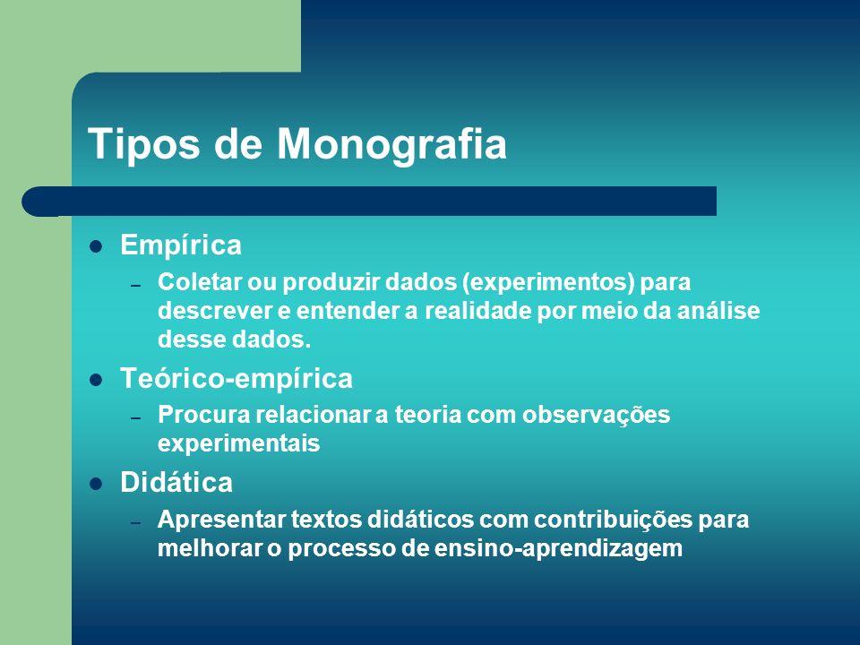 Tipos de Monografia Empírica Teórico-empírica Didática