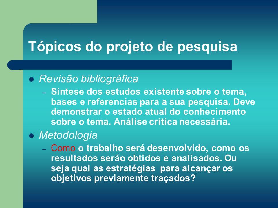 Tópicos do projeto de pesquisa