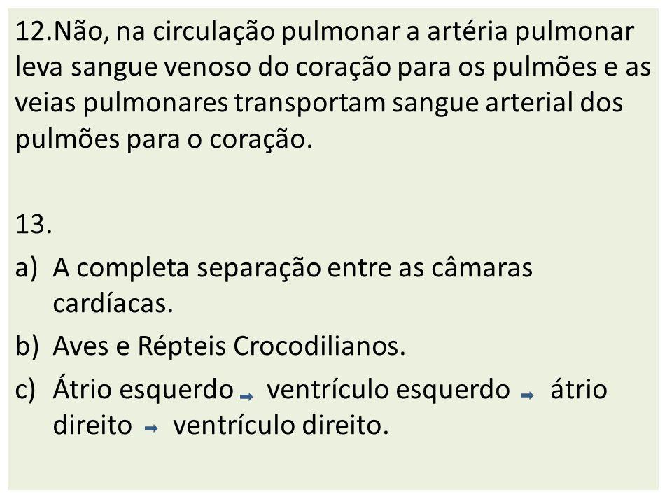 12.Não, na circulação pulmonar a artéria pulmonar leva sangue venoso do coração para os pulmões e as veias pulmonares transportam sangue arterial dos pulmões para o coração.
