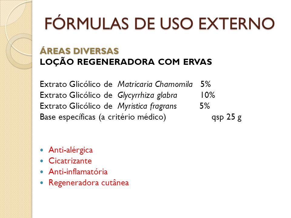 FÓRMULAS DE USO EXTERNO