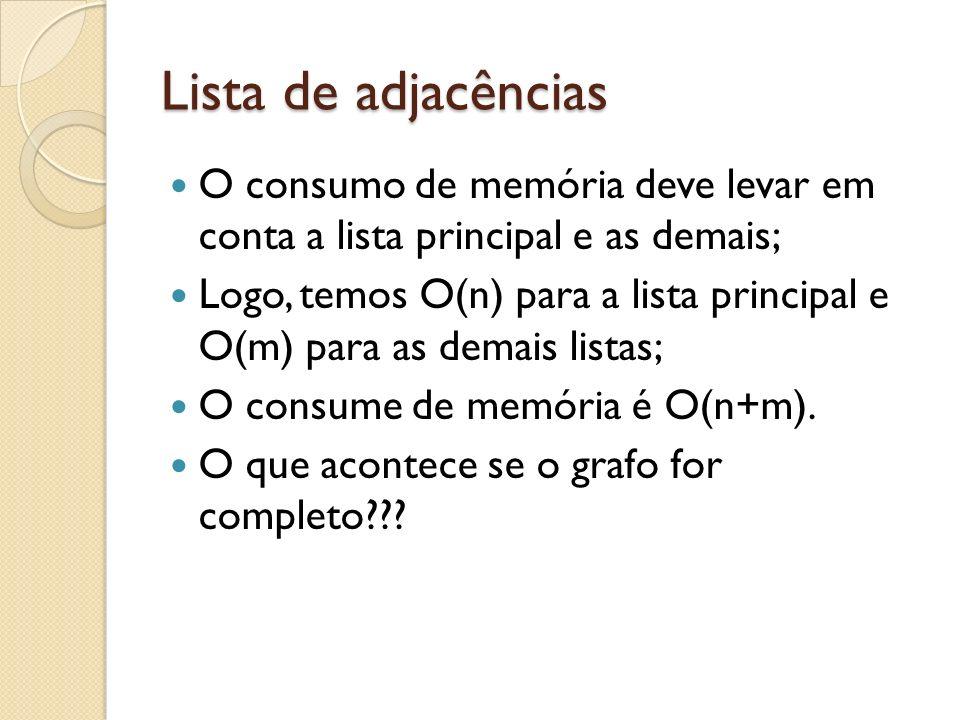 Lista de adjacências O consumo de memória deve levar em conta a lista principal e as demais;