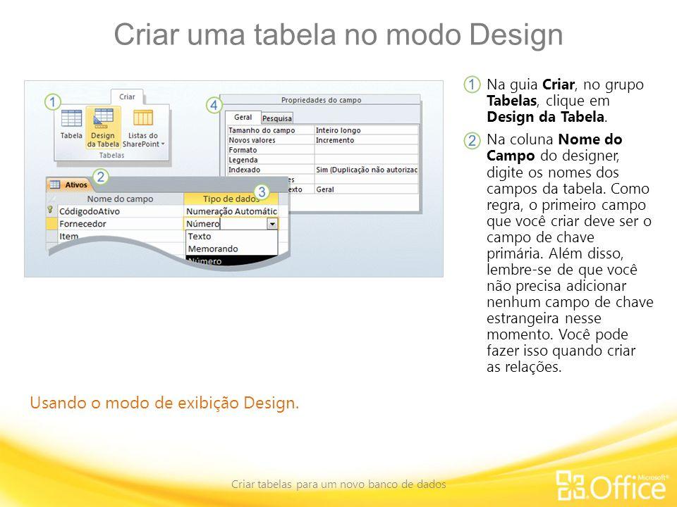 Criar uma tabela no modo Design