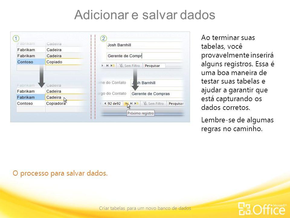Adicionar e salvar dados
