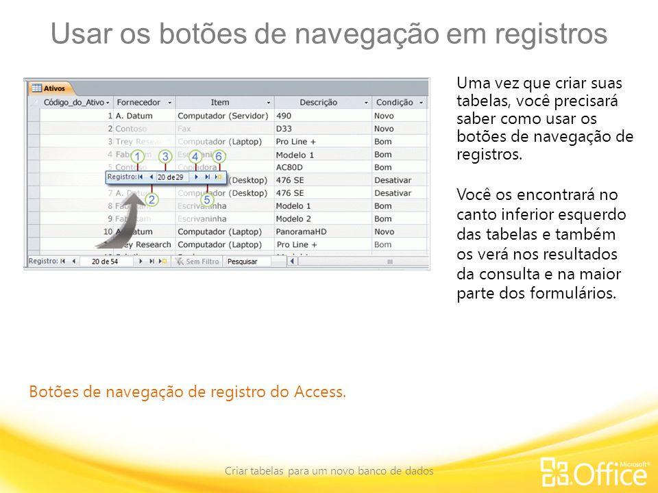 Usar os botões de navegação em registros