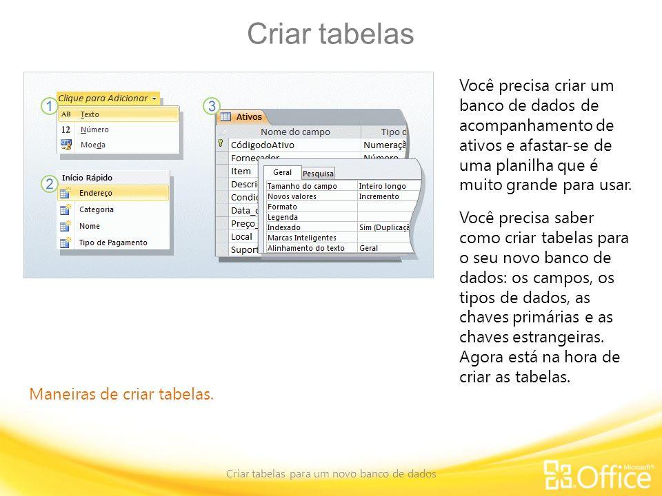 Criar tabelas para um novo banco de dados