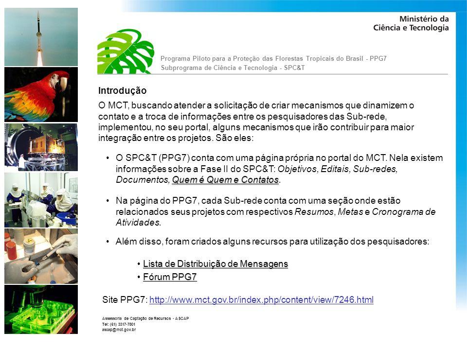 Lista de Distribuição de Mensagens Fórum PPG7