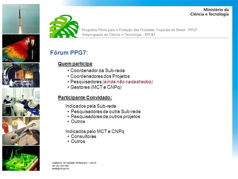 Fórum PPG7: Quem participa: Coordenador da Sub-rede