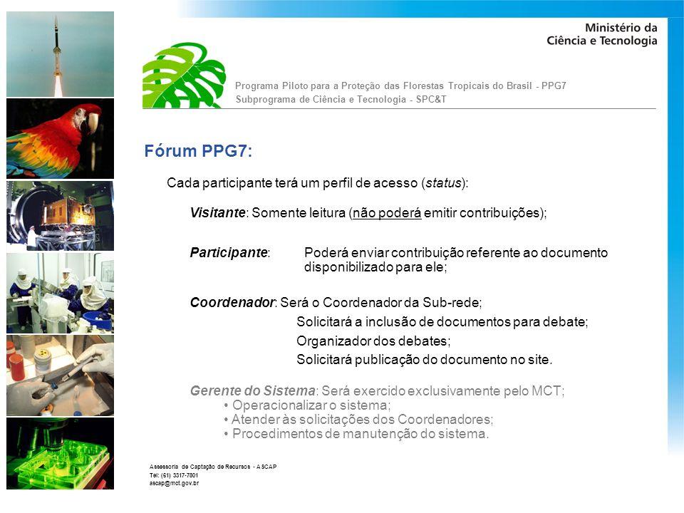 Fórum PPG7: Cada participante terá um perfil de acesso (status):
