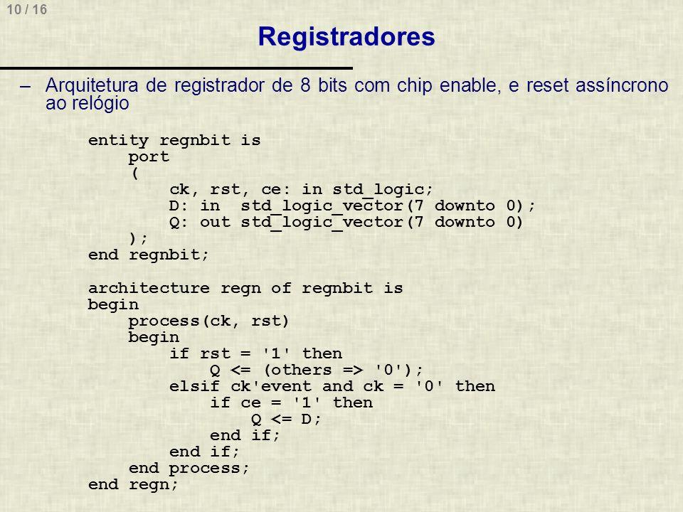 Registradores Arquitetura de registrador de 8 bits com chip enable, e reset assíncrono ao relógio.