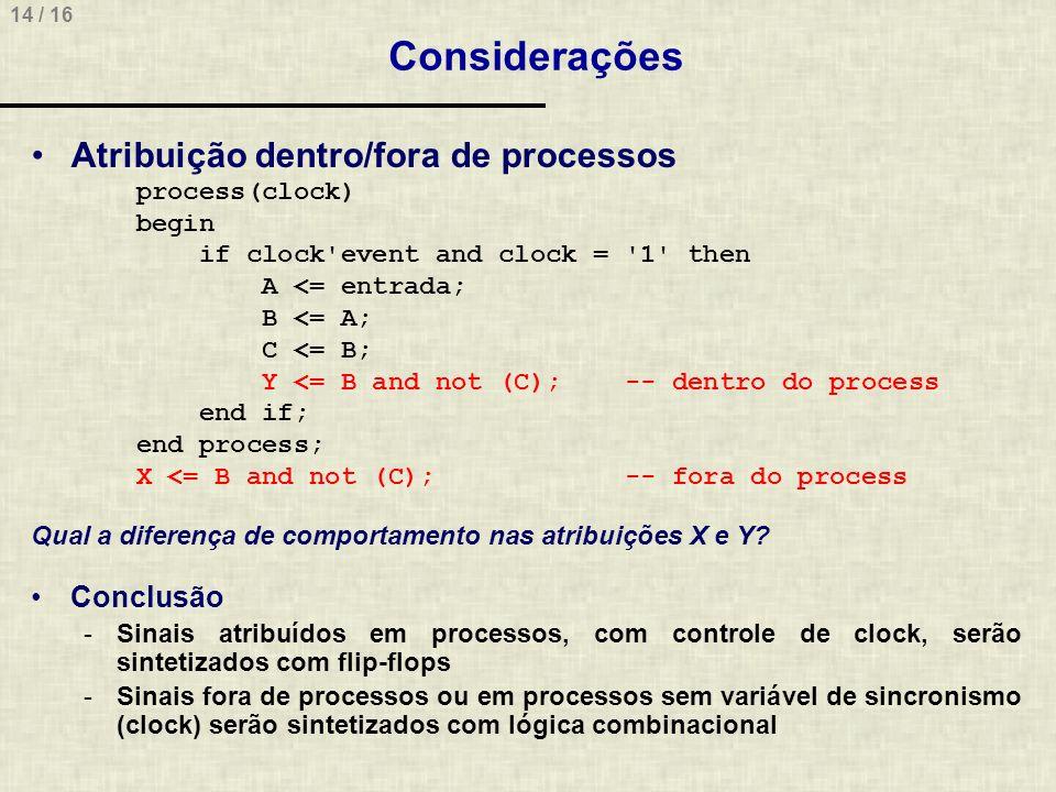 Considerações Atribuição dentro/fora de processos Conclusão