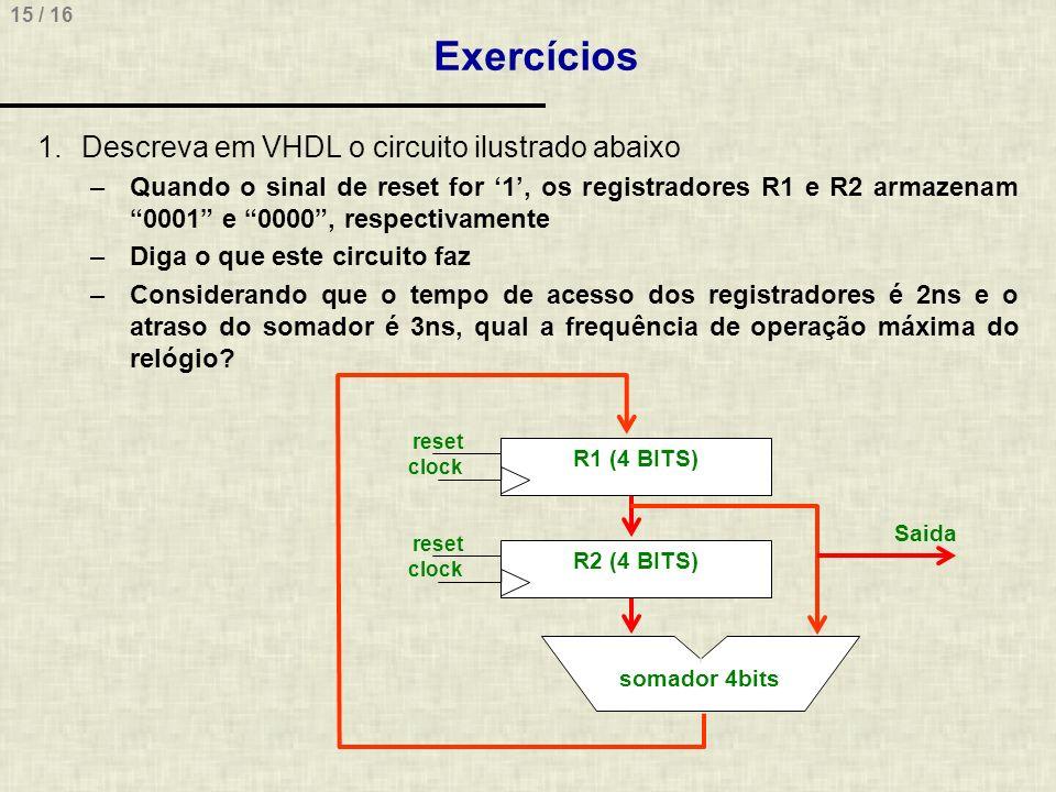 Exercícios Descreva em VHDL o circuito ilustrado abaixo