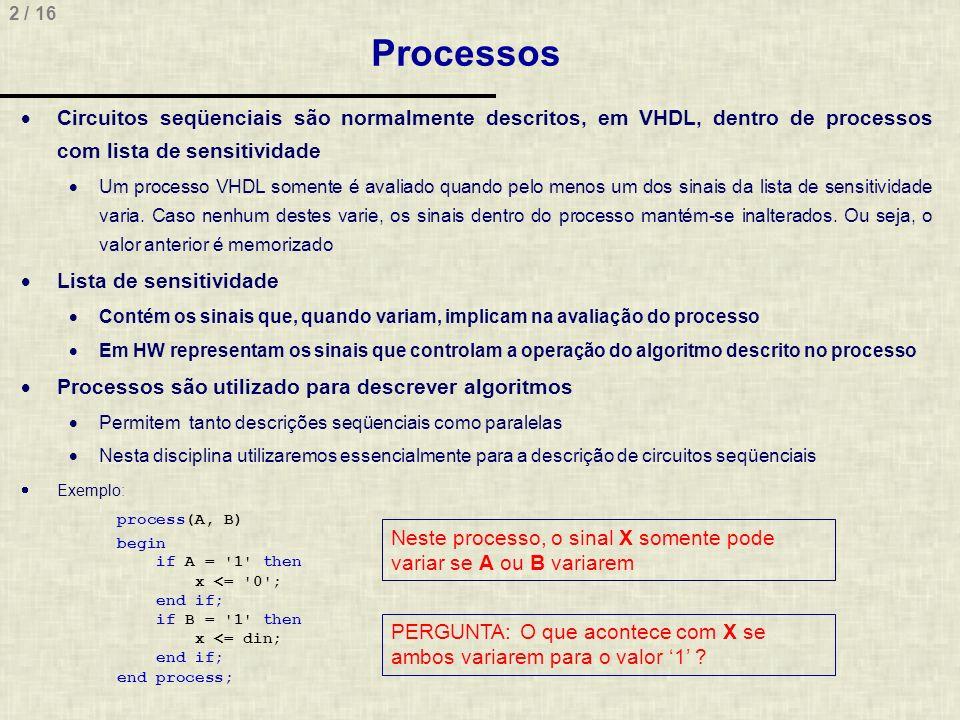 Processos Circuitos seqüenciais são normalmente descritos, em VHDL, dentro de processos com lista de sensitividade.