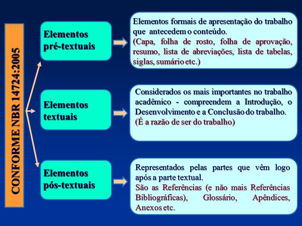 CONFORME NBR 14724:2005 Elementos pré-textuais Elementos textuais