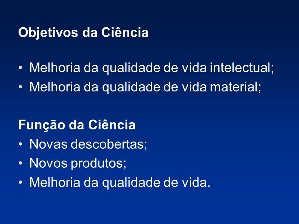 Objetivos da Ciência Melhoria da qualidade de vida intelectual; Melhoria da qualidade de vida material;