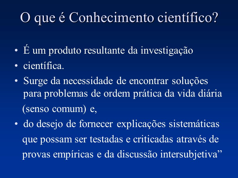 O que é Conhecimento científico