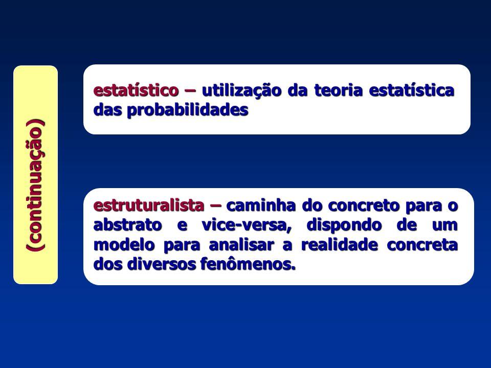 estatístico – utilização da teoria estatística das probabilidades