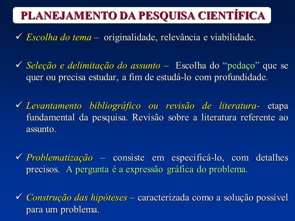 PLANEJAMENTO DA PESQUISA CIENTÍFICA