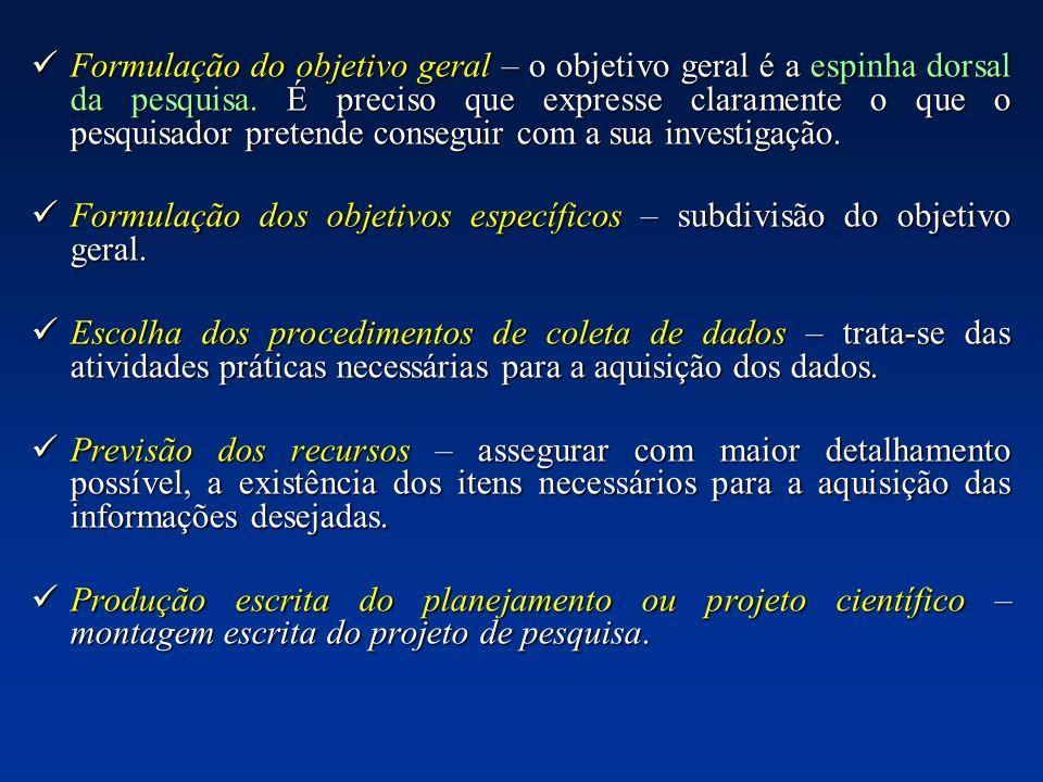 Formulação dos objetivos específicos – subdivisão do objetivo geral.