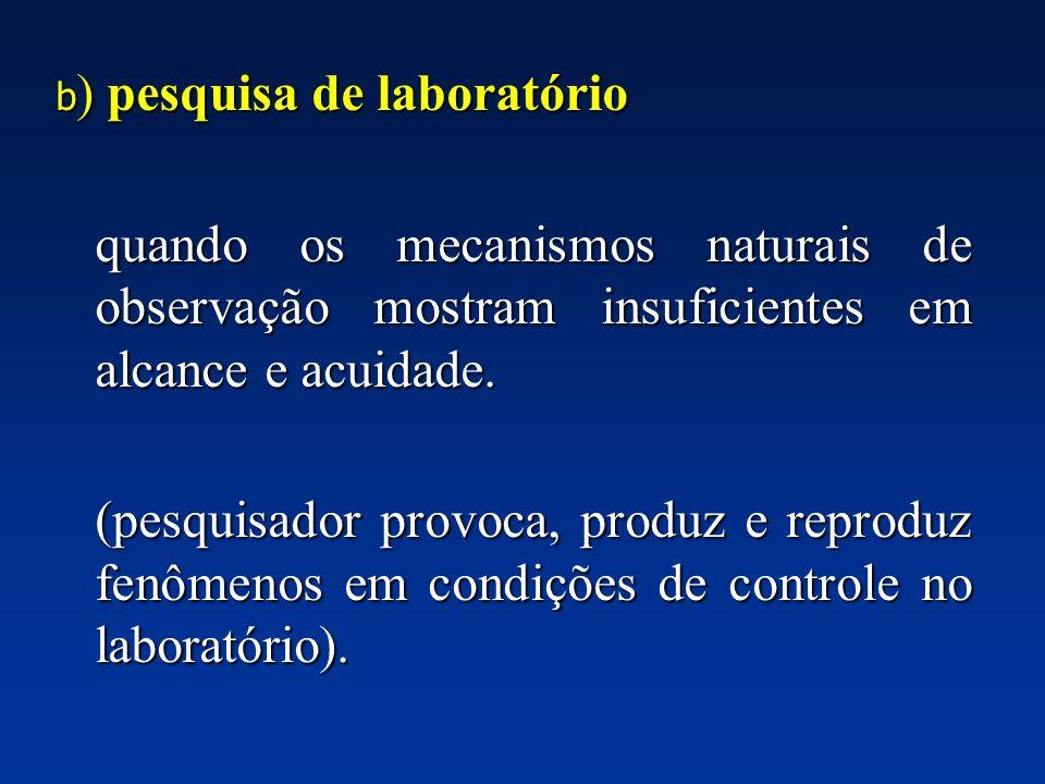 b) pesquisa de laboratório
