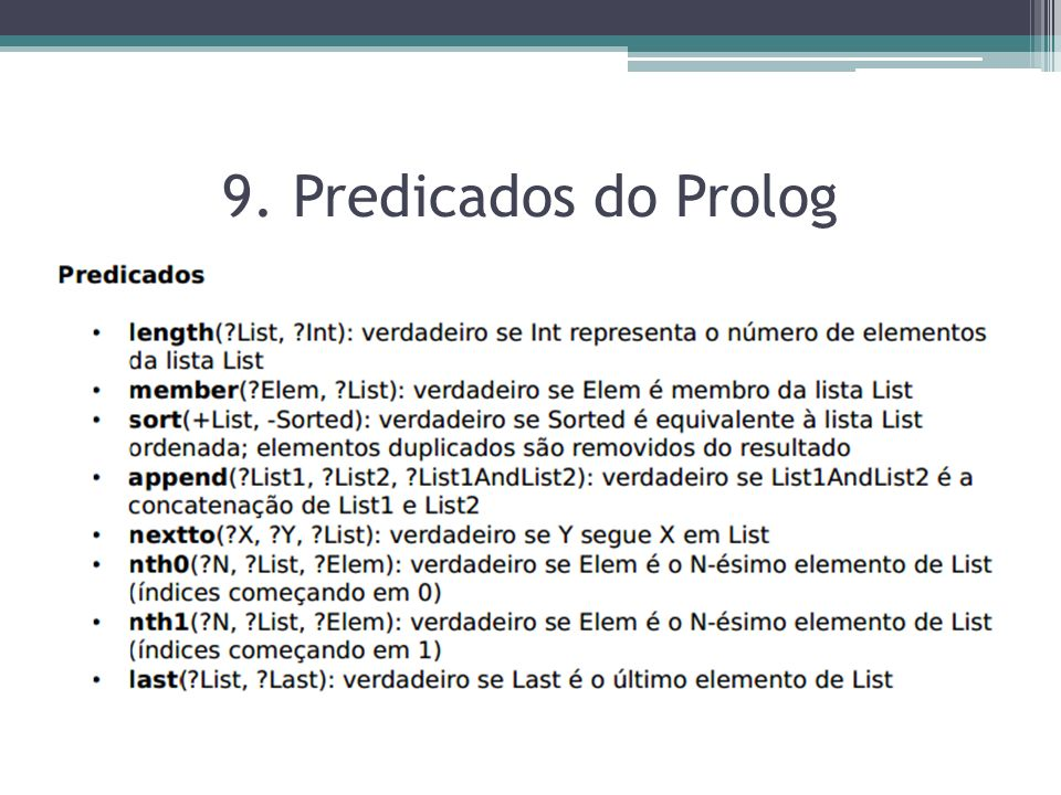 9. Predicados do Prolog