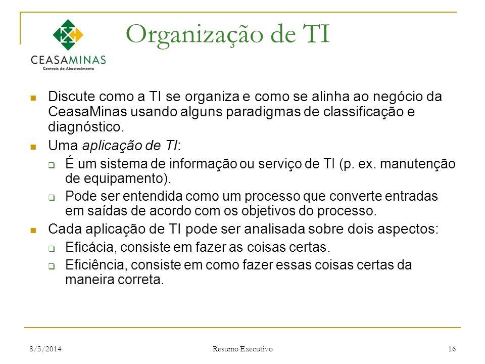 Organização de TI Discute como a TI se organiza e como se alinha ao negócio da CeasaMinas usando alguns paradigmas de classificação e diagnóstico.