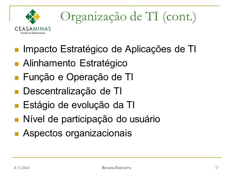 Organização de TI (cont.)