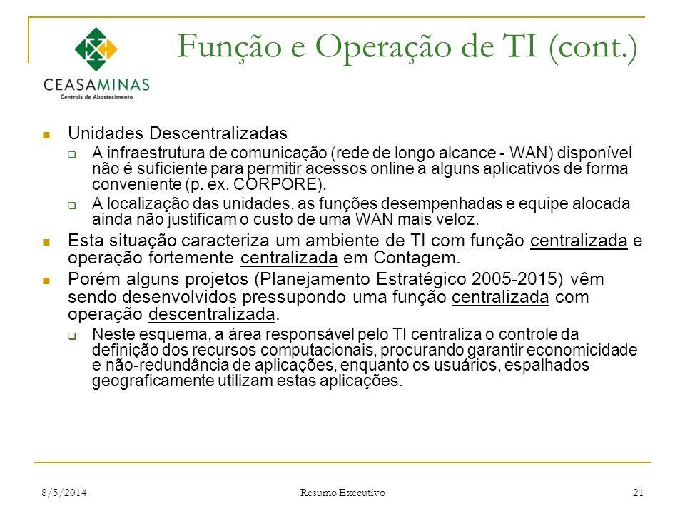 Função e Operação de TI (cont.)