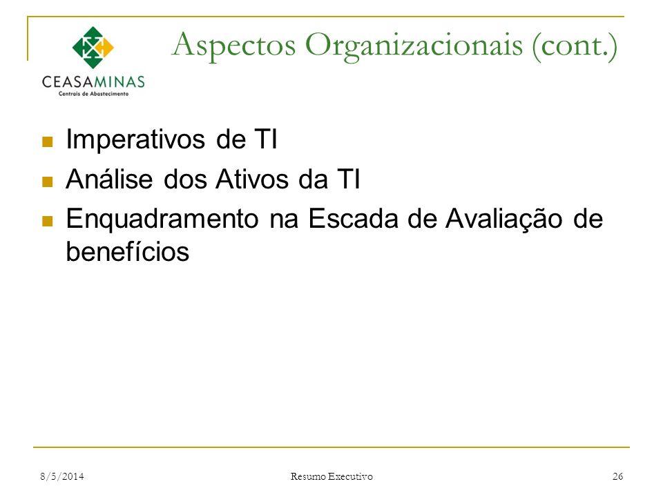 Aspectos Organizacionais (cont.)