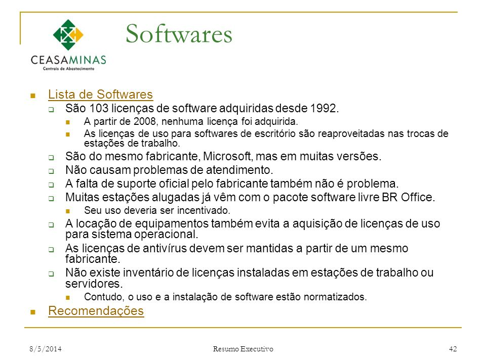 Softwares Lista de Softwares Recomendações