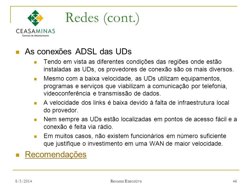 Redes (cont.) As conexões ADSL das UDs Recomendações