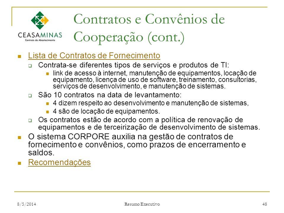 Contratos e Convênios de Cooperação (cont.)