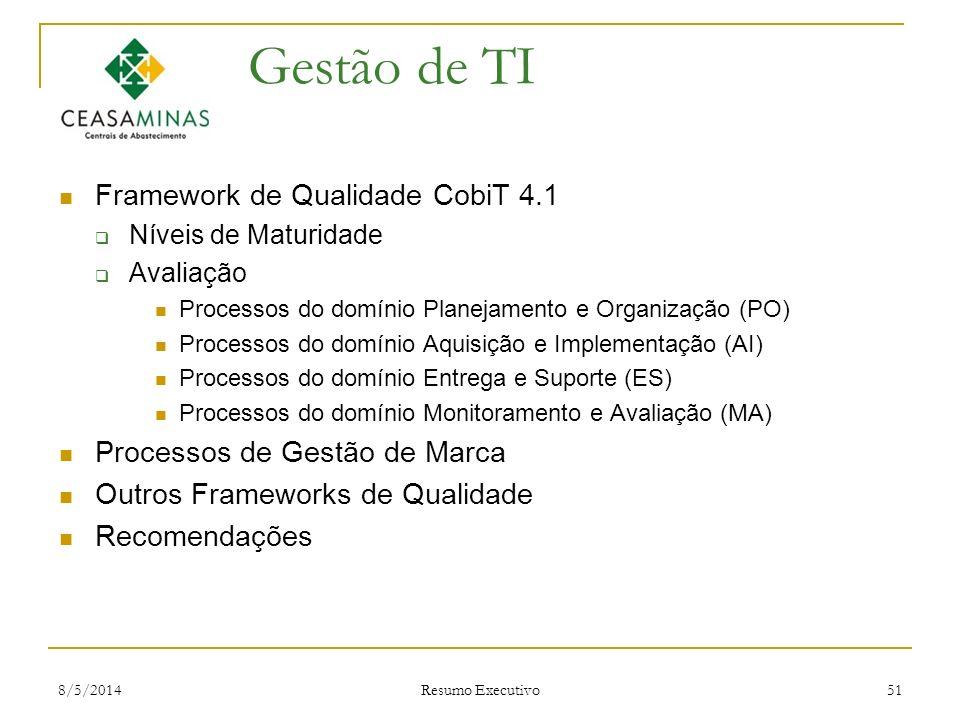 Gestão de TI Framework de Qualidade CobiT 4.1