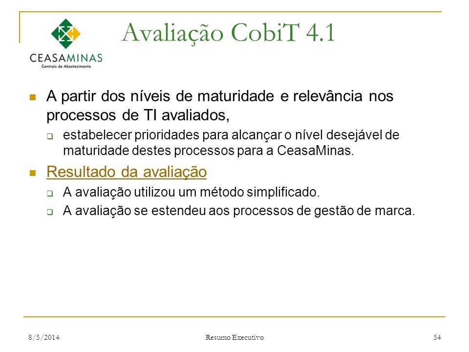 Avaliação CobiT 4.1 A partir dos níveis de maturidade e relevância nos processos de TI avaliados,