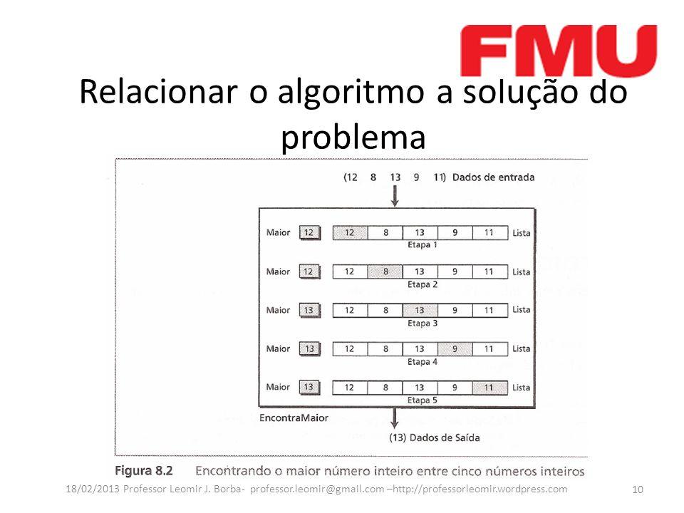 Relacionar o algoritmo a solução do problema