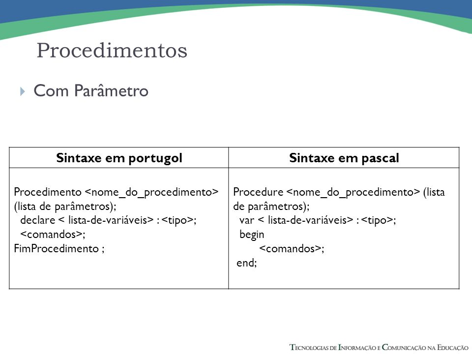 Procedimentos Com Parâmetro Sintaxe em portugol Sintaxe em pascal