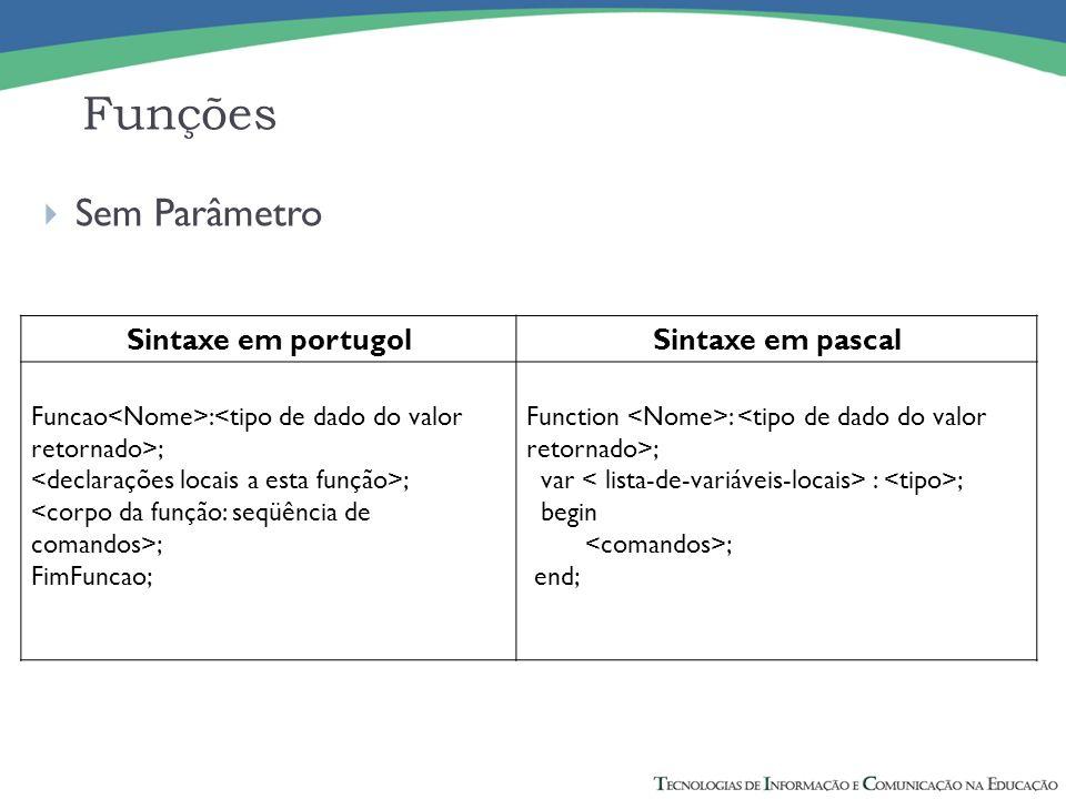 Funções Sem Parâmetro Sintaxe em portugol Sintaxe em pascal