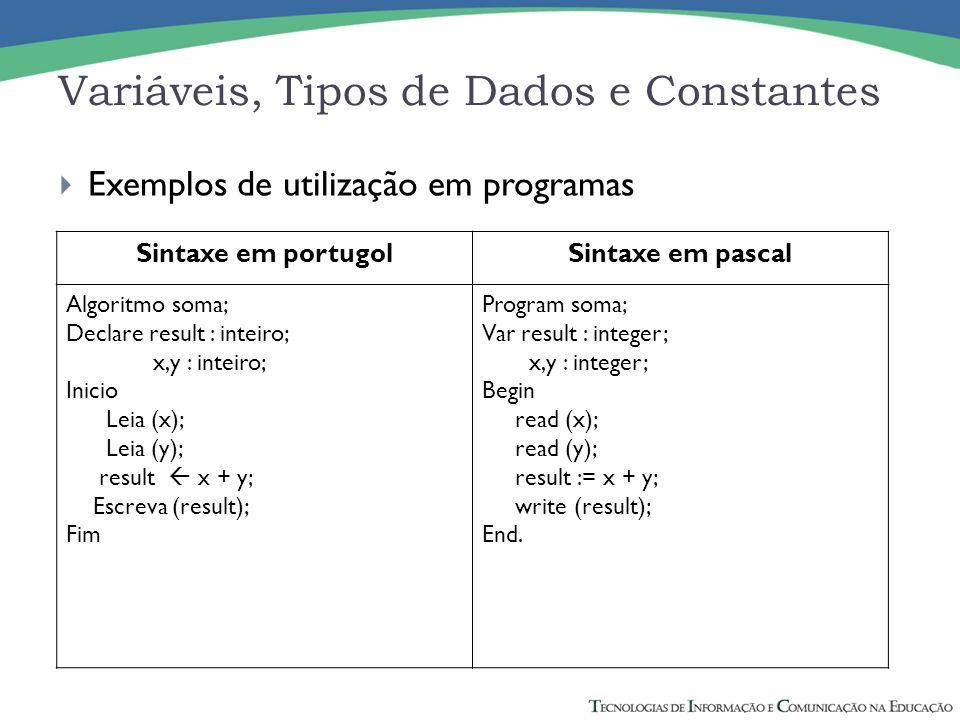Variáveis, Tipos de Dados e Constantes