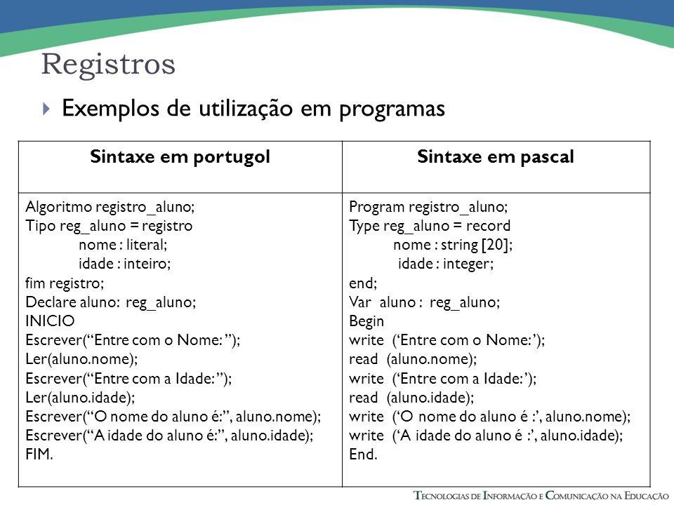 Registros Exemplos de utilização em programas Sintaxe em portugol