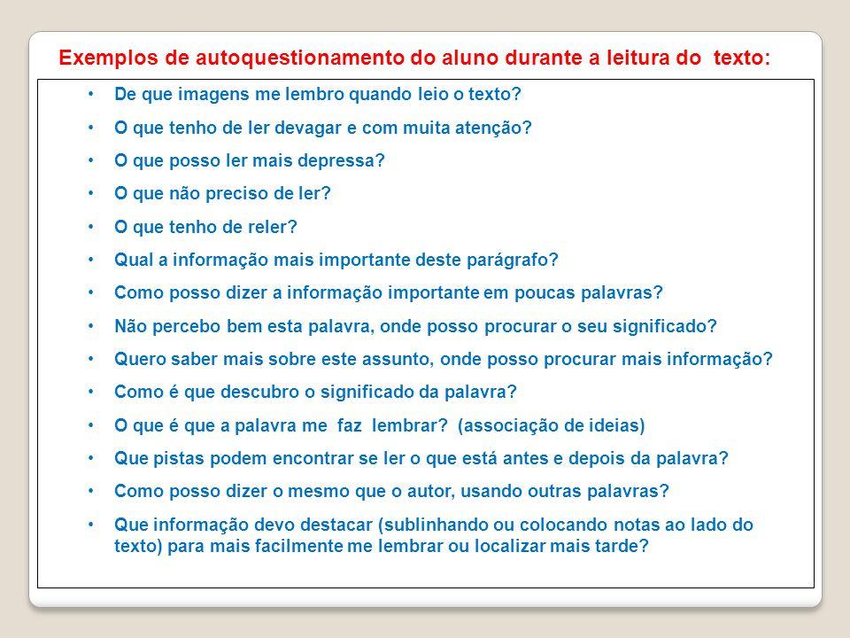 Exemplos de autoquestionamento do aluno durante a leitura do texto: