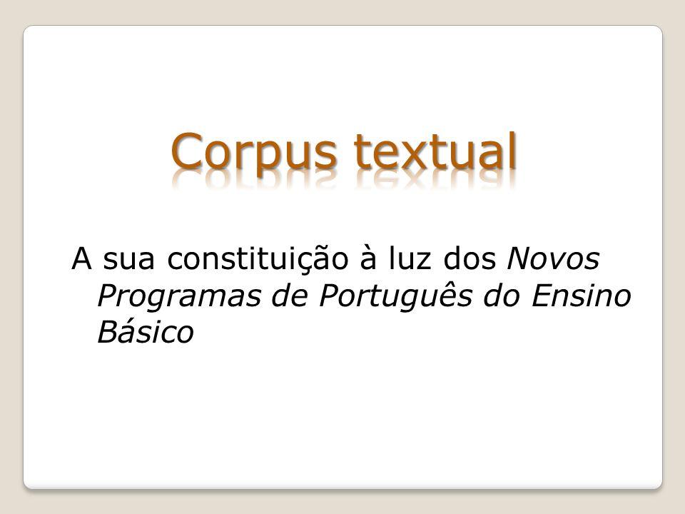 Corpus textual A sua constituição à luz dos Novos Programas de Português do Ensino Básico