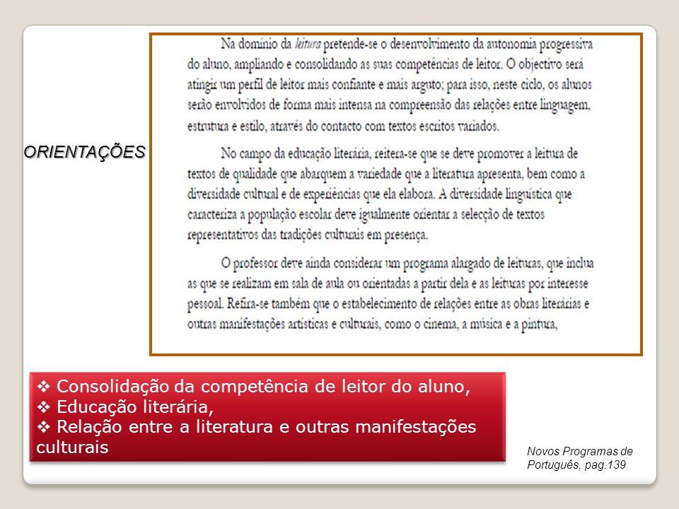 Consolidação da competência de leitor do aluno, Educação literária,