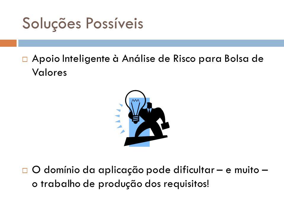 Soluções Possíveis Apoio Inteligente à Análise de Risco para Bolsa de Valores.