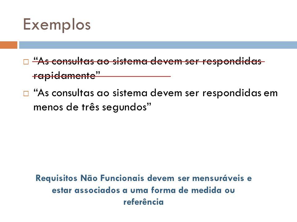 Exemplos As consultas ao sistema devem ser respondidas rapidamente