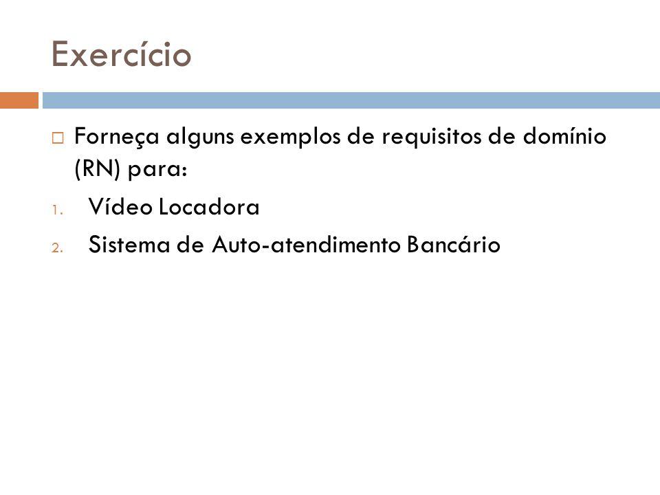 Exercício Forneça alguns exemplos de requisitos de domínio (RN) para: