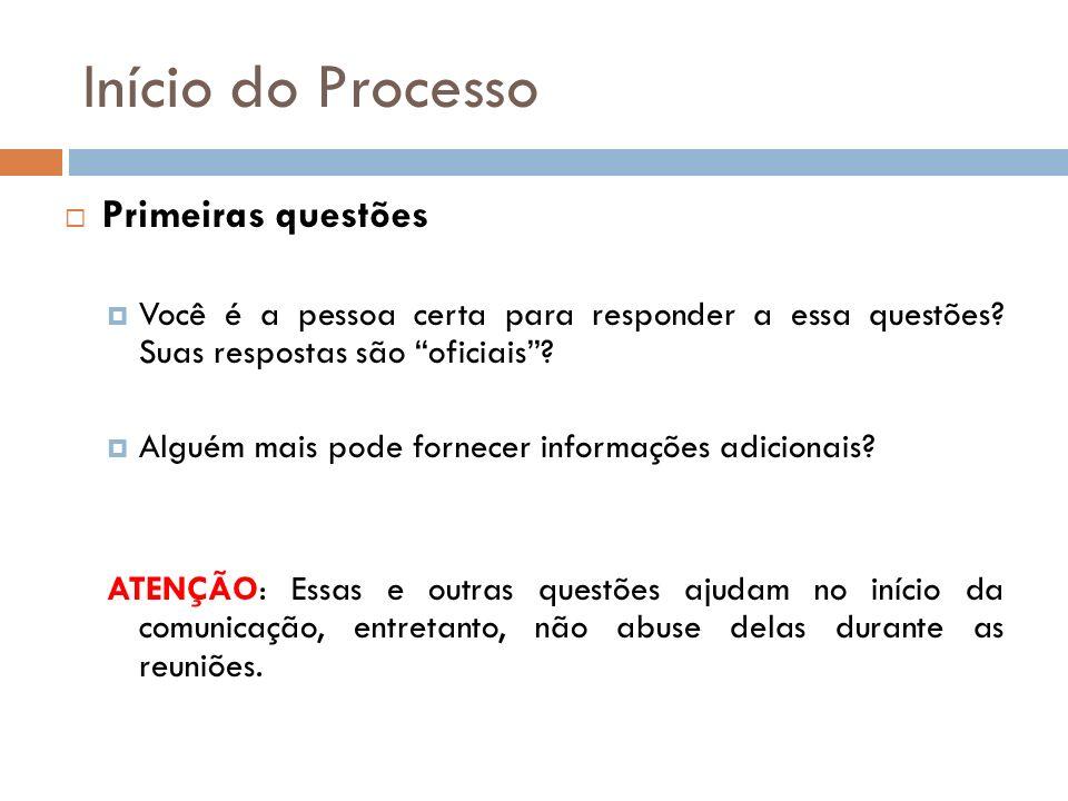 Início do Processo Primeiras questões