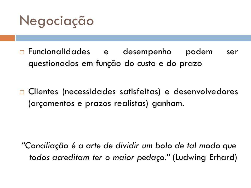 Negociação Funcionalidades e desempenho podem ser questionados em função do custo e do prazo.
